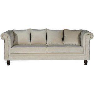 Chesterfield 3-sits soffa Churchill - Beige Sammet