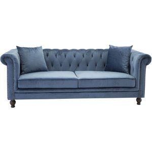 Chesterfield 3-sits soffa Churchill - Blå Sammet