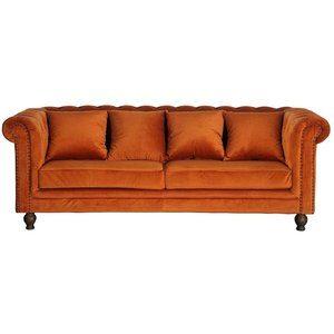 Chesterfield 3-sits soffa Churchill - Orange Sammet