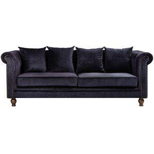 Chesterfield 3-sits soffa Churchill - Svart Sammet