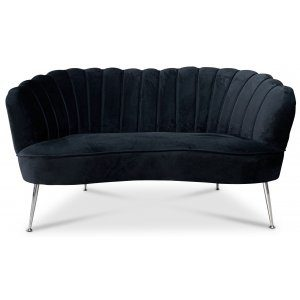 Snäckan 2-sits soffa - Svart sammet / Krom