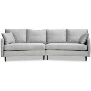 Visby 4-sits svängd soffa 301 cm - Gråbeige sammet